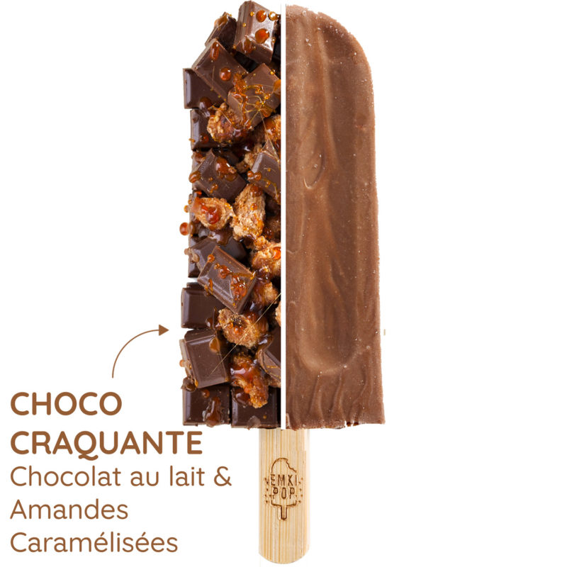 Choco Craquante - Chocolat au lait & Amandes Caramélisées | Glace Artisanale