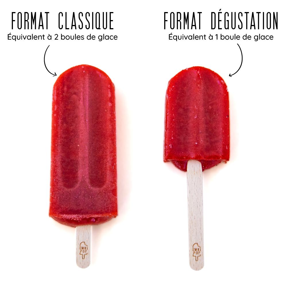 Format Classique = 2 boules de glace / Format Dégustation = 1 boule de glace